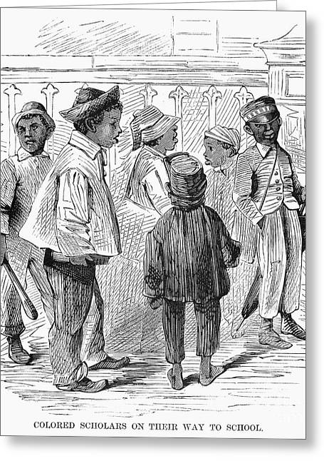 Black School Children Greeting Card by Granger