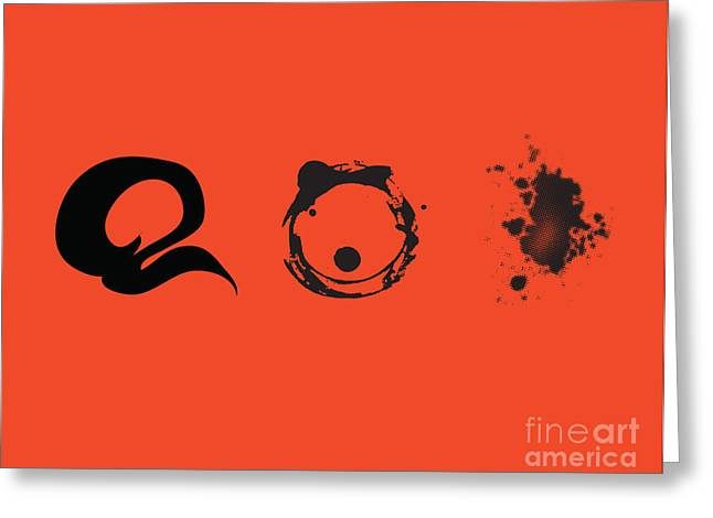 Greeting Card featuring the digital art Black Shapes On Red Background by Christine Perry