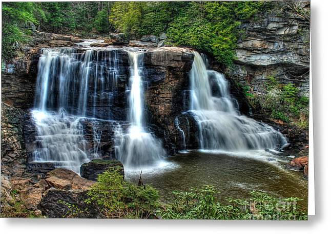 Greeting Card featuring the photograph Black Water Falls by Mark Dodd