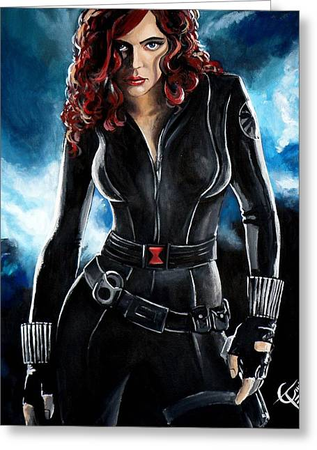 Black Widow Greeting Card by Tom Carlton