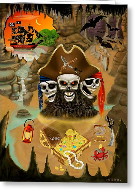 Blackbeard's Haunted Treasure Greeting Card by Glenn Holbrook