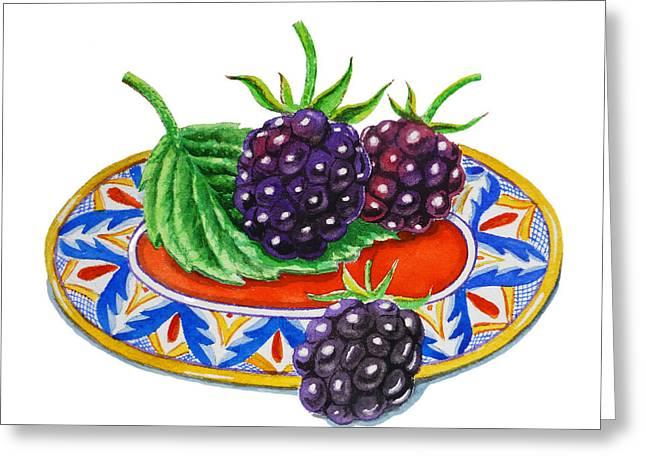 Blackberries Greeting Card by Irina Sztukowski