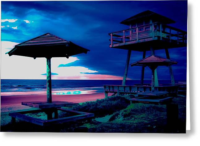Blacklight Tower Greeting Card by DigiArt Diaries by Vicky B Fuller