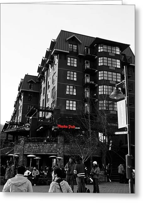 Greeting Card featuring the photograph Blacks Pub Whistler Canada by JM Photography