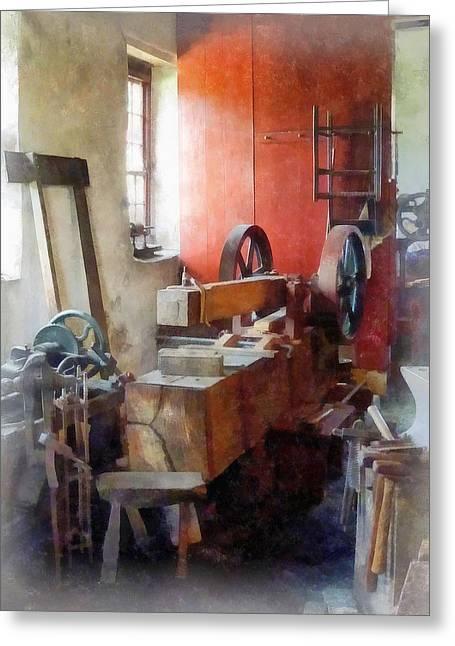 Blacksmith Shop Near Windows Greeting Card by Susan Savad