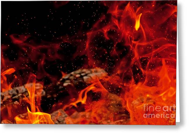 Blaze With Sparks Greeting Card by Rachel Duchesne