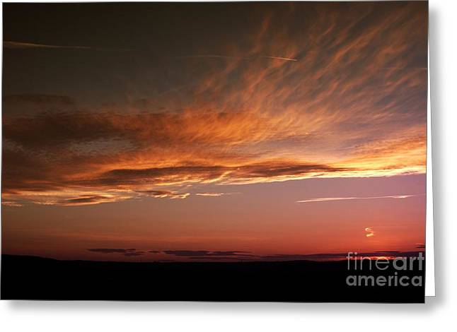 Blazing Sunset Greeting Card by Stephen Clarridge