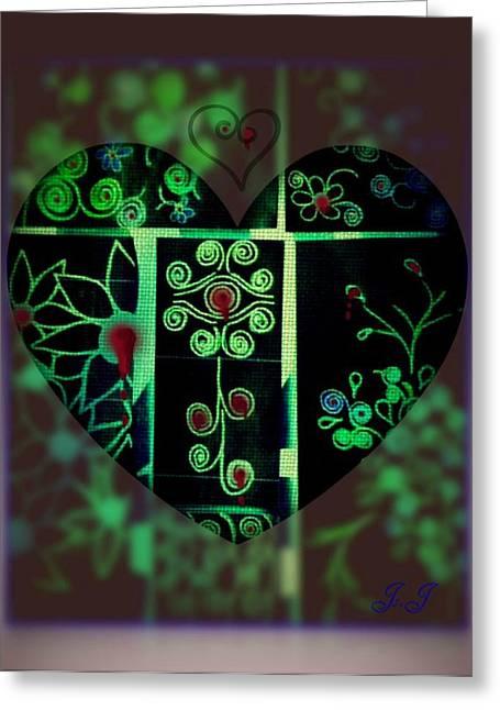 Bleeding Hearts Greeting Card by Jan Steadman-Jackson