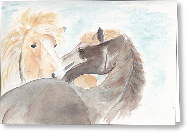 Blesi And Bear Greeting Card by Debi Hamari