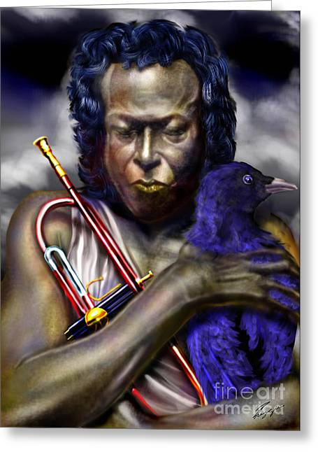 Blessings And Curses - Miles Davis Greeting Card by Reggie Duffie