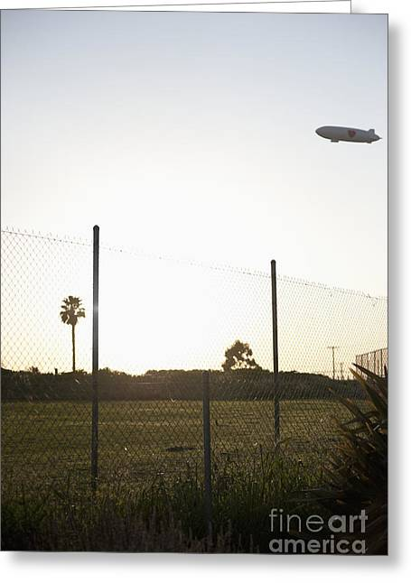 Blimp Flying Over Sports Field Greeting Card by Sam Bloomberg-rissman