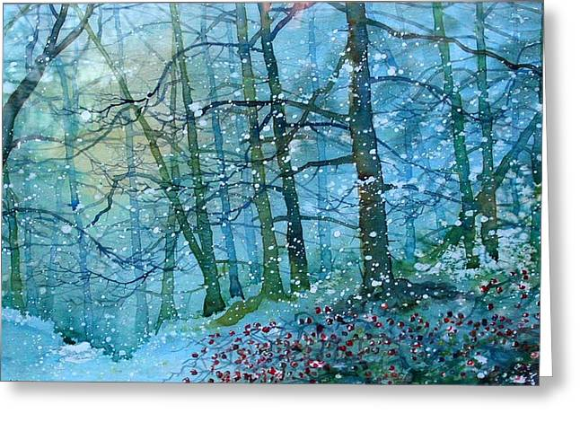 Blizzard In Broxa Forest Greeting Card