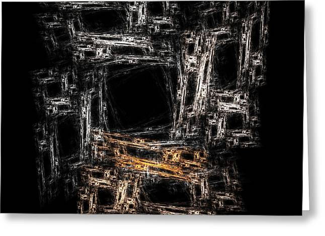 Block Abstract On Black                 Greeting Card by Richard Ortolano
