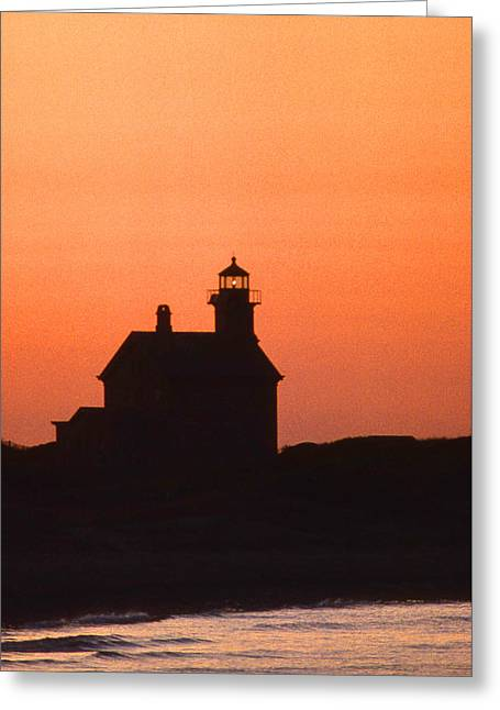 Block Island North West Lighthouse Sunset Greeting Card by Skip Willits