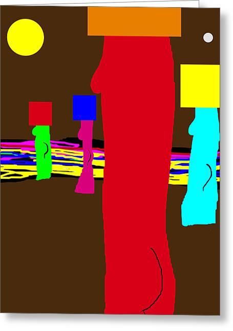 Blockhead Nudes Greeting Card