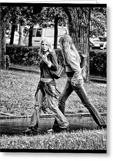 Greeting Card featuring the photograph Blond Girls In Russian Park by Rick Bragan