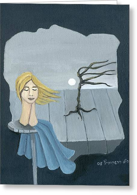 Blond In The Wind Surrealistic Landscape Windy Tree Woman Head In Blue And Yellow  Greeting Card by Rachel Hershkovitz