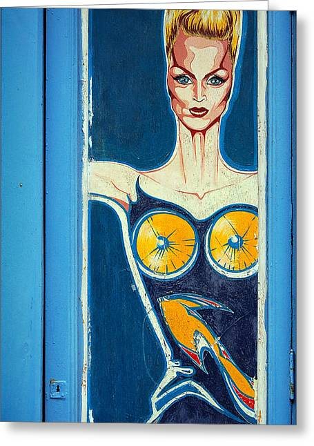 Blonde Woman In Blue Greeting Card by RicardMN Photography