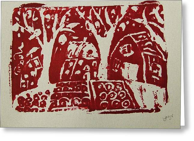 Greeting Card featuring the painting Blood Rituals In Red For The Mayan Forest Agriculture With Trees Houses And Land Plots by M Zimmerman