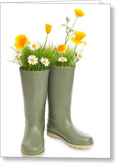 Blooming Wellington Boots Greeting Card by Amanda Elwell