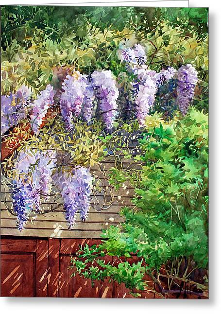 Blooming Wisteria Greeting Card by Peter Sit