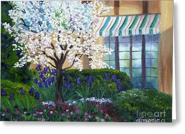 Blossoming Tree At Ainsley House Greeting Card by Laura Iverson