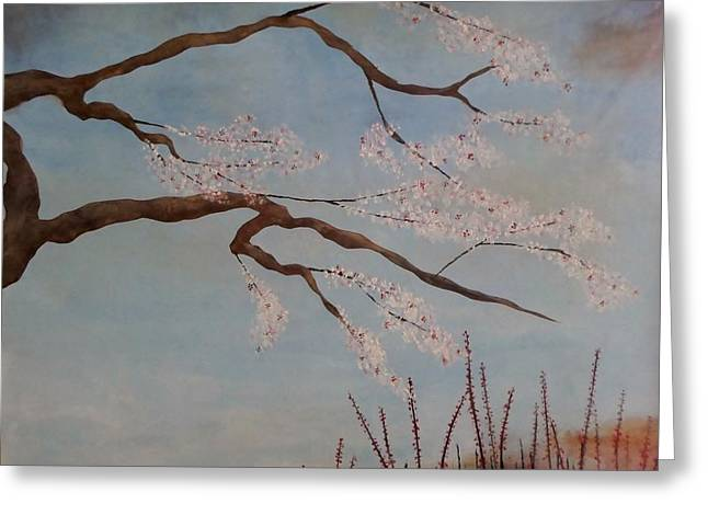 Blossoms Over The Lake Greeting Card by Catherine JN Christopher