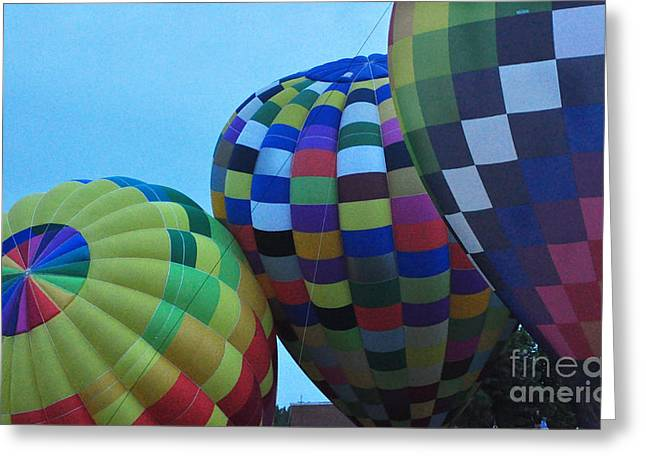 Blowing Up The Balloons Greeting Card by Ginger Harris