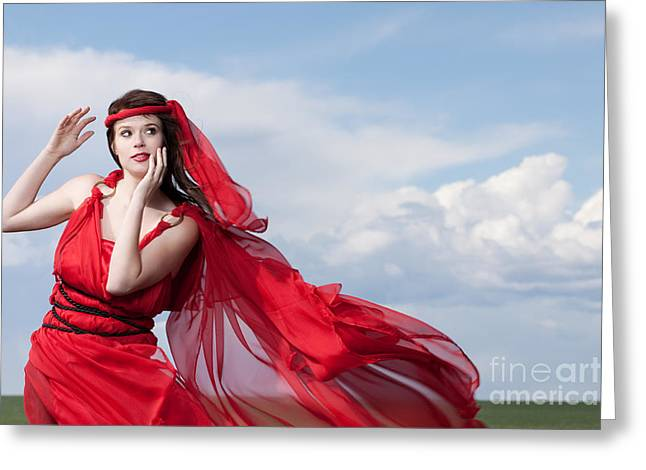 Blown Away Woman In Red Series Greeting Card by Cindy Singleton