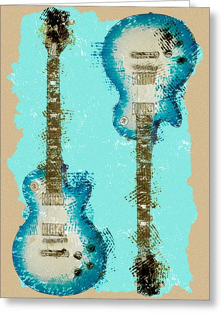 Blue Abstract Guitars Greeting Card by David G Paul
