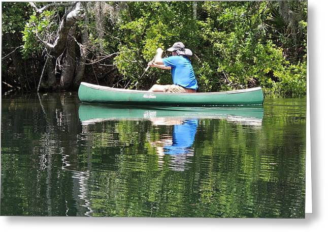 Blue Amongst The Greens - Canoeing On The St. Marks Greeting Card by Marilyn Holkham