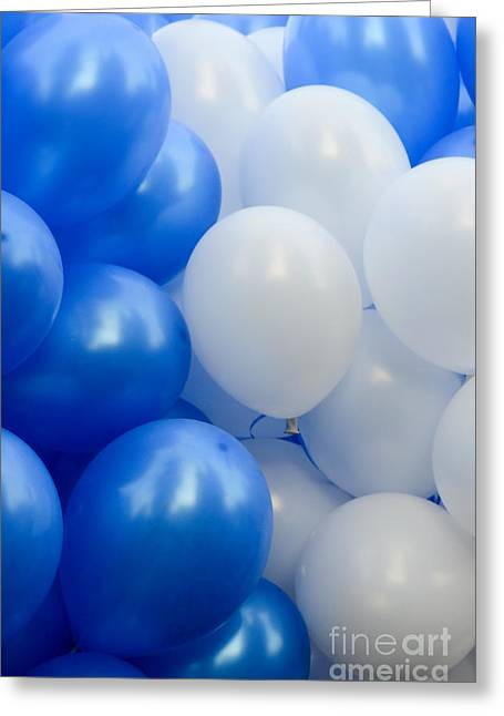 Blue And White Balloons  Greeting Card