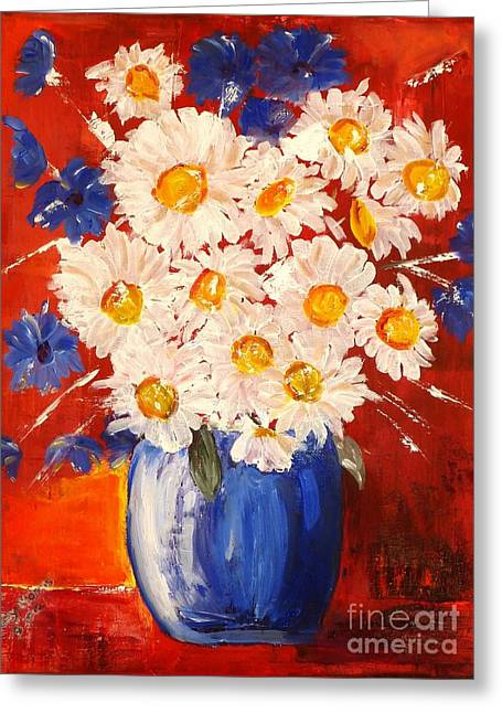 Greeting Card featuring the painting Blue And White Flowers by Judy Morris