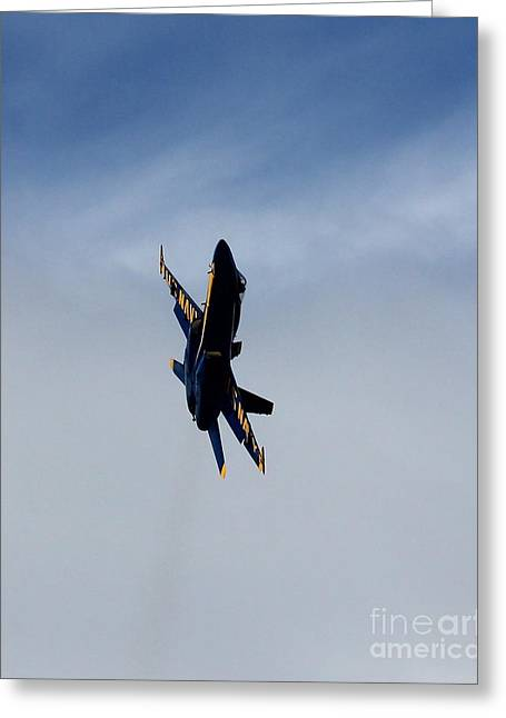 Greeting Card featuring the photograph Blue Angel Solo by Alex Esguerra