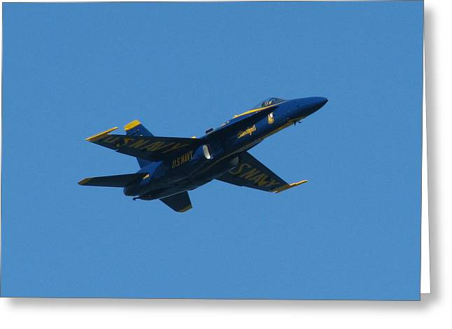 Blue Angel Solo Greeting Card by Samuel Sheats