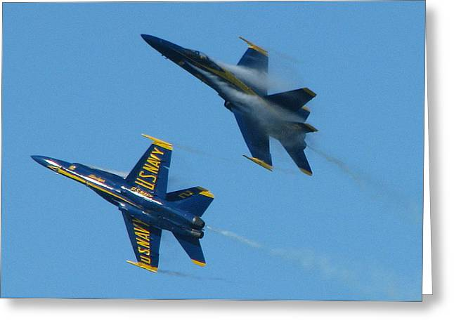 Blue Angels Break Greeting Card by Samuel Sheats