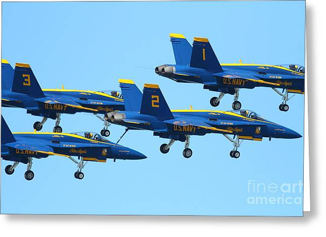 Blue Angels F-18 Super Hornet . 7d7990 Greeting Card by Wingsdomain Art and Photography