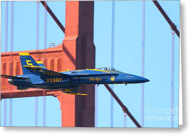 Blue Angels F-18 Super Hornet . 7d8045 Greeting Card by Wingsdomain Art and Photography