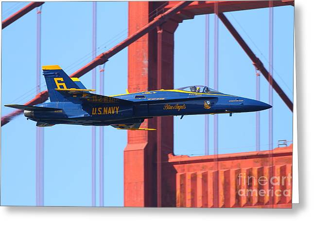 Blue Angels F-18 Super Hornet . 7d8055 Greeting Card by Wingsdomain Art and Photography
