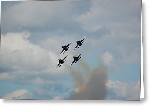 Blue Angels Roaring By Greeting Card