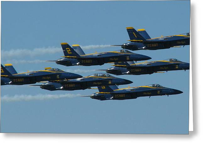 Blue Angels Take 6 Greeting Card by Samuel Sheats