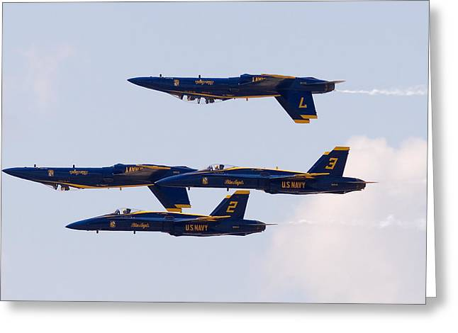 Blue Angels Greeting Card by Zannie B