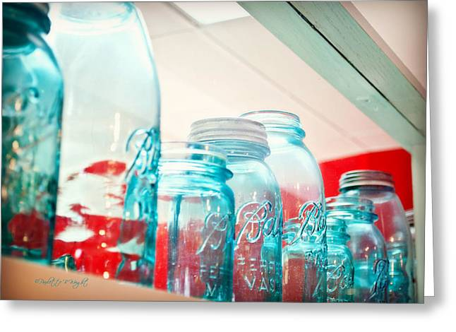 Blue Ball Canning Jars Greeting Card by Paulette B Wright
