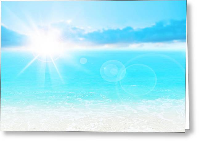 Blue Beach Background Greeting Card by Anna Om