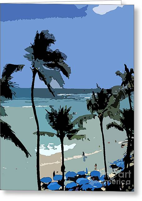 Blue Beach Umbrellas Greeting Card by Karen Nicholson