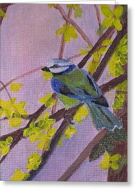 Greeting Card featuring the painting Blue Bird by Christy Saunders Church