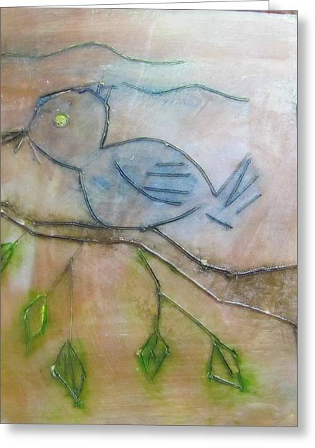 Blue Bird Of Happiness Greeting Card by Jenell Richards