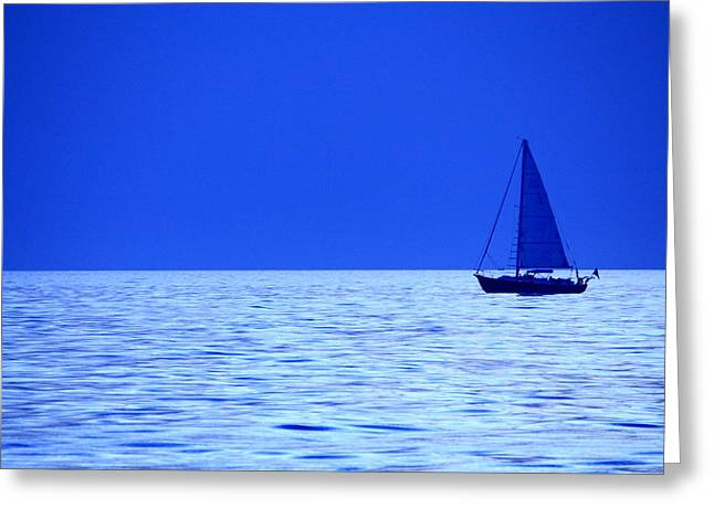 Greeting Card featuring the photograph Blue Boat by Coby Cooper