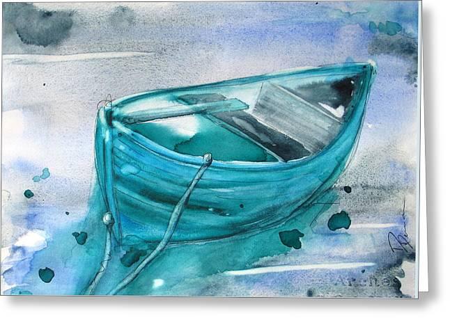 Blue Boat Greeting Card by Dawn Derman