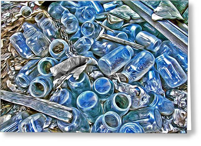 Blue Bottles Greeting Card by James Steele